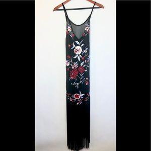 Vintage Floral Embroidered Fringe Chiffon Dress
